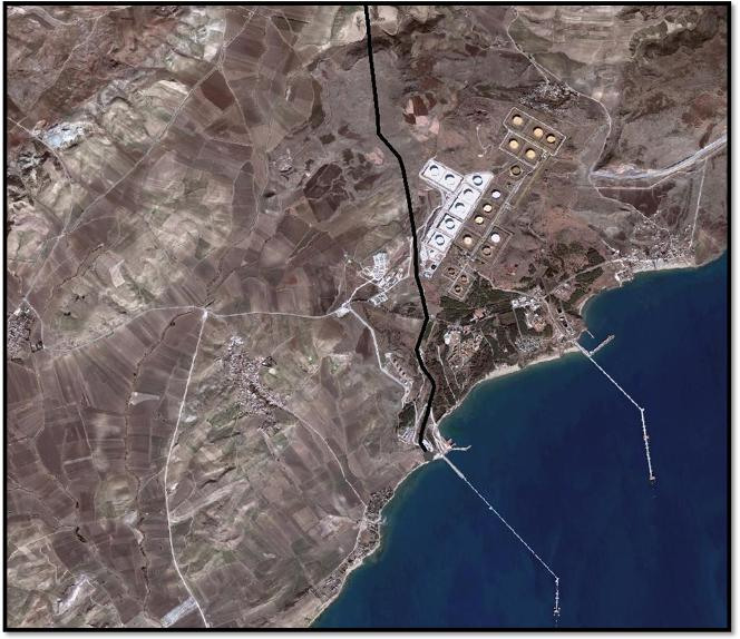 Detail of the Ceyhan oil terminal by satellite imagery